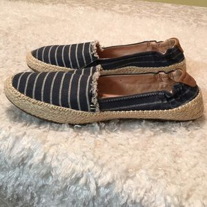 Sperry Navy & Cream Striped Canvas Flats